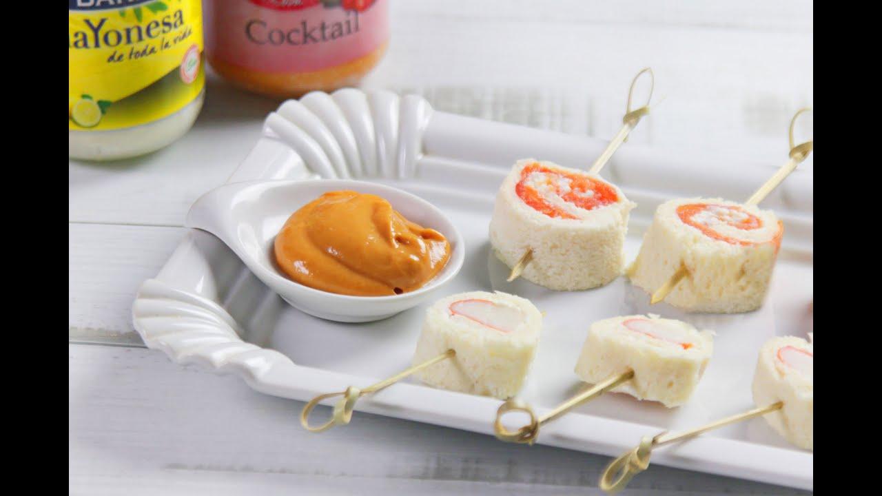 Rollitos de pan de molde salm n y mayonesa youtube for Canape de salmon ahumado