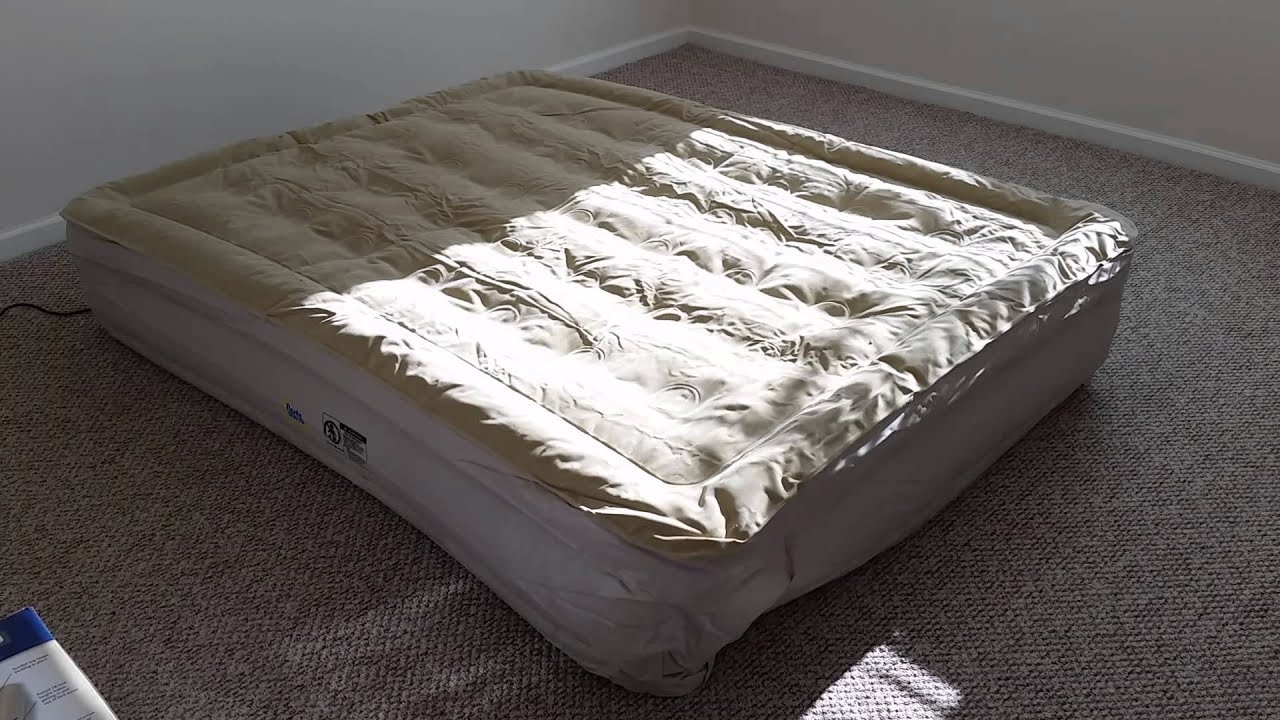 serta perfect sleeper raised queen air bed never flat pump inflating youtube. Black Bedroom Furniture Sets. Home Design Ideas