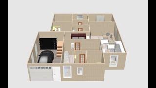 Проект одноэтажного дома (с гаражом и сауной в доме)  площадью 125 кв/м. (11 м*13м). Описание внизу
