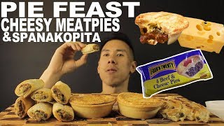 [MUKBANG] PIE FEAST-CHEESY MEATPIES AND SPANAKOPITA(SPINACH PIE)