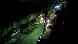 台北市士林區社子島零晨十二點開工的修路工程