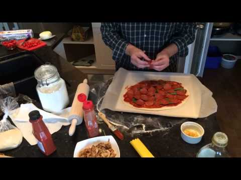 Making a Pepperoni and Mushroom Pizza