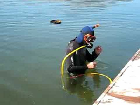 Hookah diving osoyoos lake with underwater hose breathing system youtube - Floating dive compressor ...
