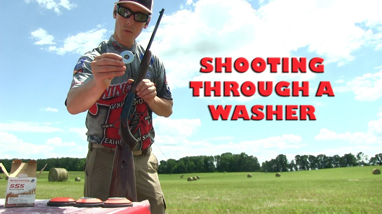 Shooting a .22LR Bullet Through the Center of  Flying Washers