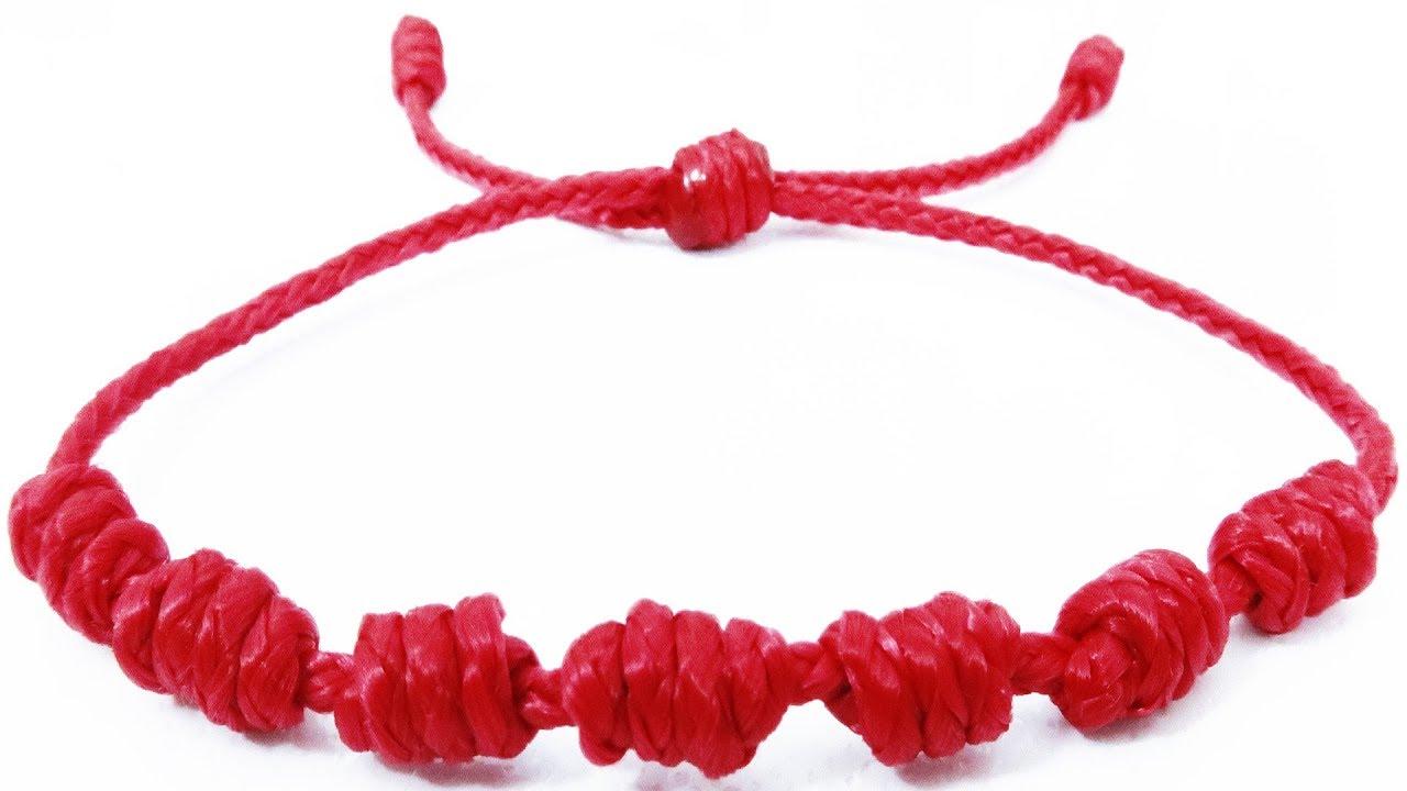 bajo precio 0d832 67def Pulsera roja de 7 nudos de protección de la suerte| Como hacer pulseras de  hilo fáciles tutorial DIY