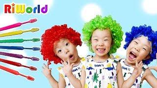 Brush your teeth. magic brush. RIWORLD 마법의 치약을 사용하면 리원이의 머리카락 색깔이 변해요!   양치놀이 색깔놀이