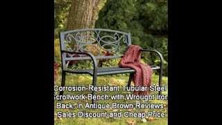 Corrosion-resistant Tubular Steel Scrollwork Bench With Wrought Iron Back, In Antique Brown