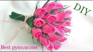 Розы из гофрированной бумаги. Букет своими руками. МК / DIY
