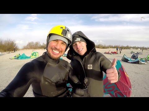 Kitesurfing in freezing winter