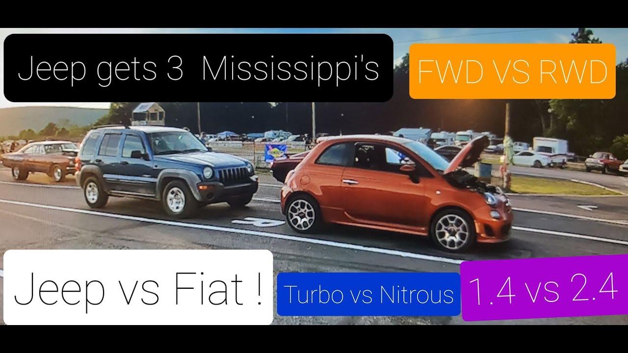 Fiat 500t vs Nitrous Jeep At Beaver Springs Drag way! 1.4 vs 2.4 /Fwd vs Rwd/ turbo vs Nitrous!