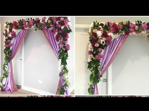 DIY- Lavender Backdrop DIY- Floral backdrop DIY-Wedding  Diy- Satin curtain backdrop DIY-Floral Swag
