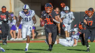 Chuba hubbard ran for 223 yards and two long touchdowns to help oklahoma state defeat tcu 34-27 on saturday.