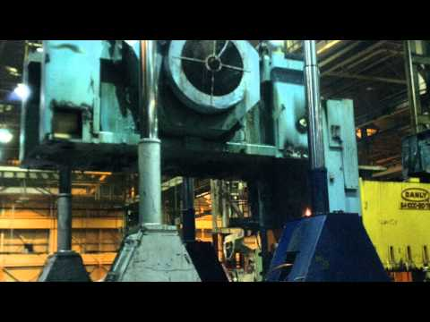 dropping crown at Budd plant with hydraulic gantry