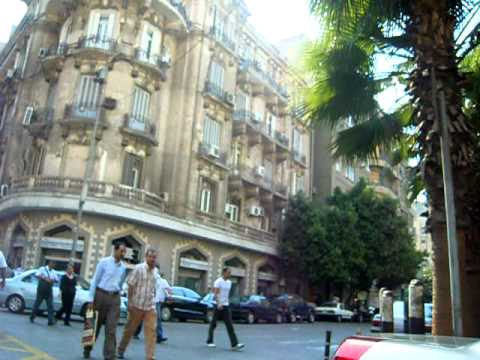 Walking in modern Cairo traffic
