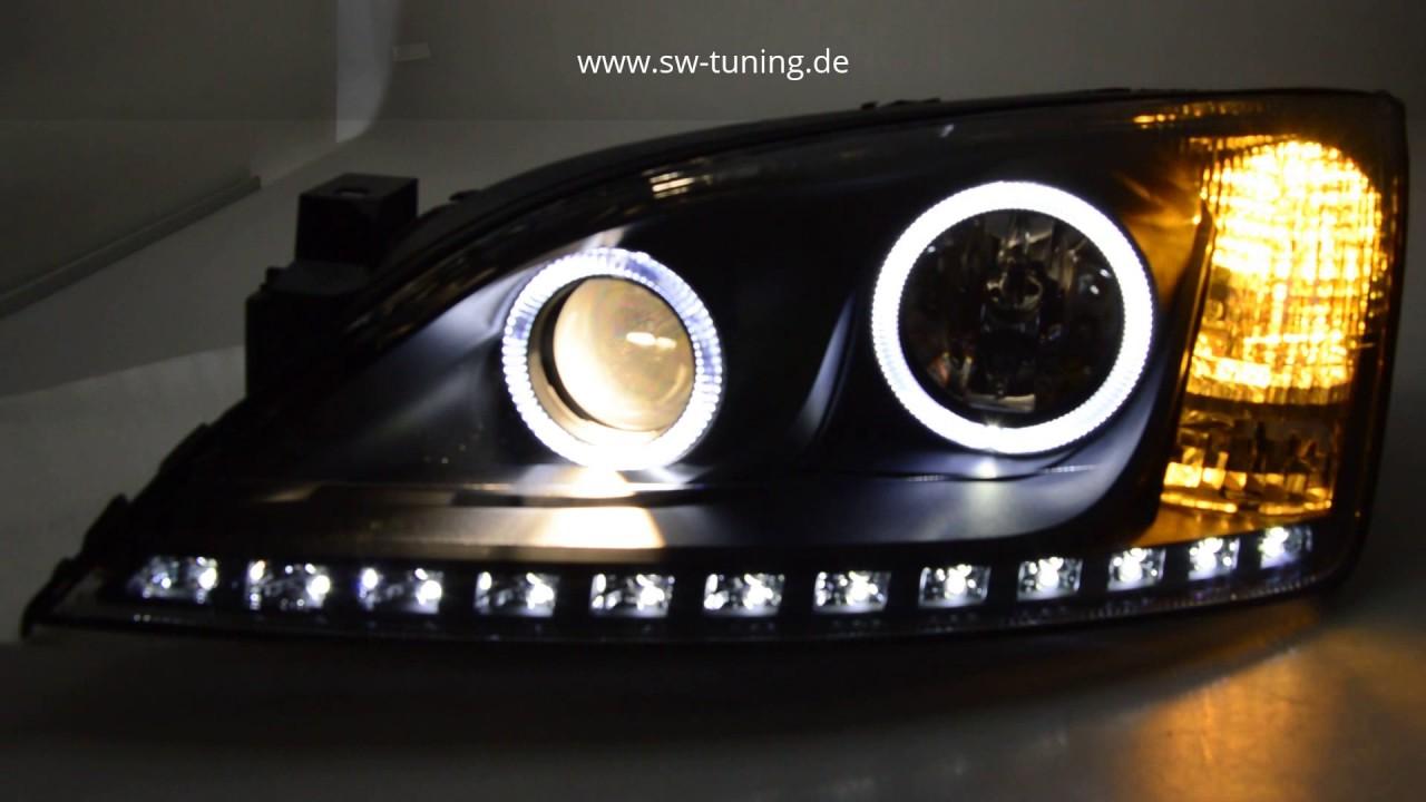 sw tuning angel eye scheinwerfer f r ford mondeo mk3 high led standlichtringe leiste black. Black Bedroom Furniture Sets. Home Design Ideas