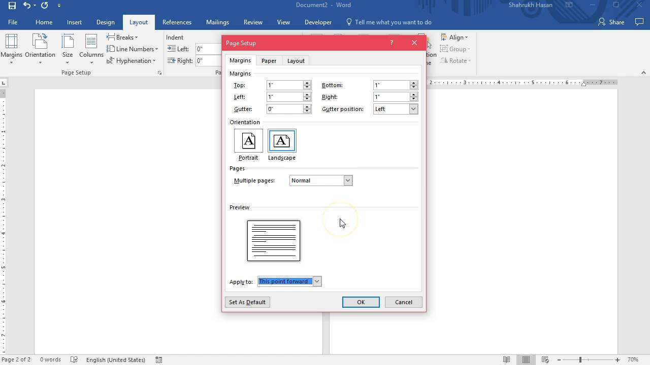 Landscape & Portrait Page Layout in same MS Word Document - YouTube
