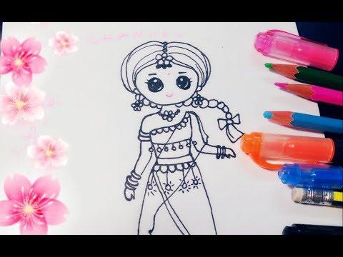 Vẽ Chibi Ấn Độ/ Vẽ thời trang Ấn Độ/Draw chibi Indian cute