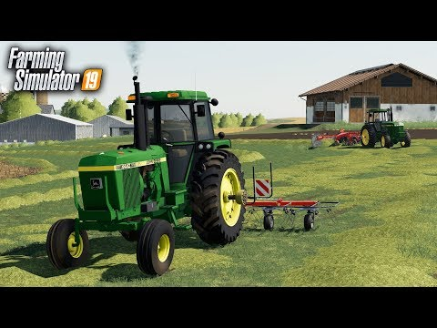 FS19- HAY DAY! RAKING & TEDDING HAY WITH THE OLD JOHN DEERES thumbnail