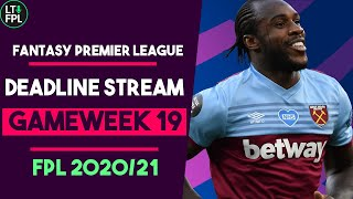 FPL DEADLINE STREAM | Gameweek 19 | BENCH BOOST TIME! | Fantasy Premier League Tips 2020/2121