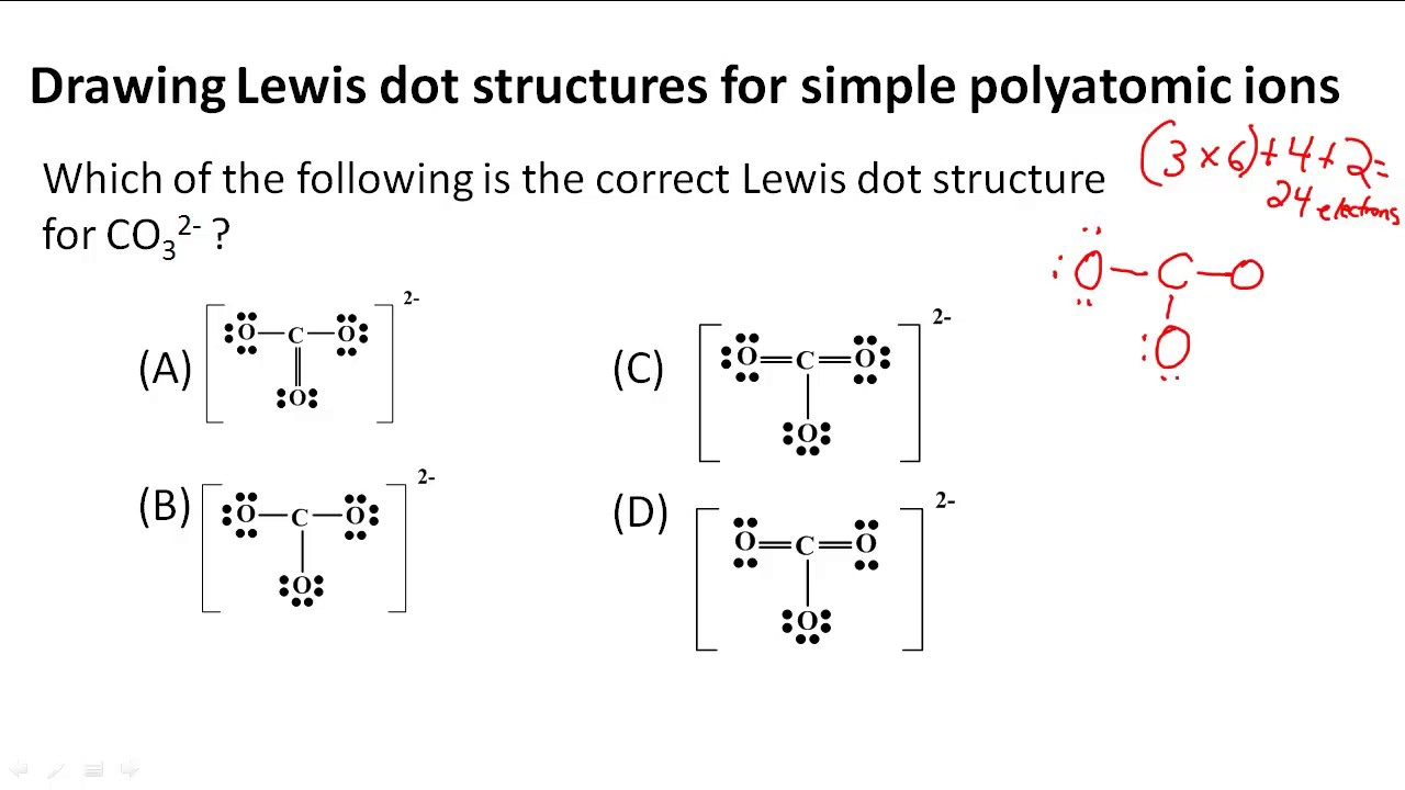 drawing lewis dot structures for simple polyatomic ions [ 1280 x 720 Pixel ]