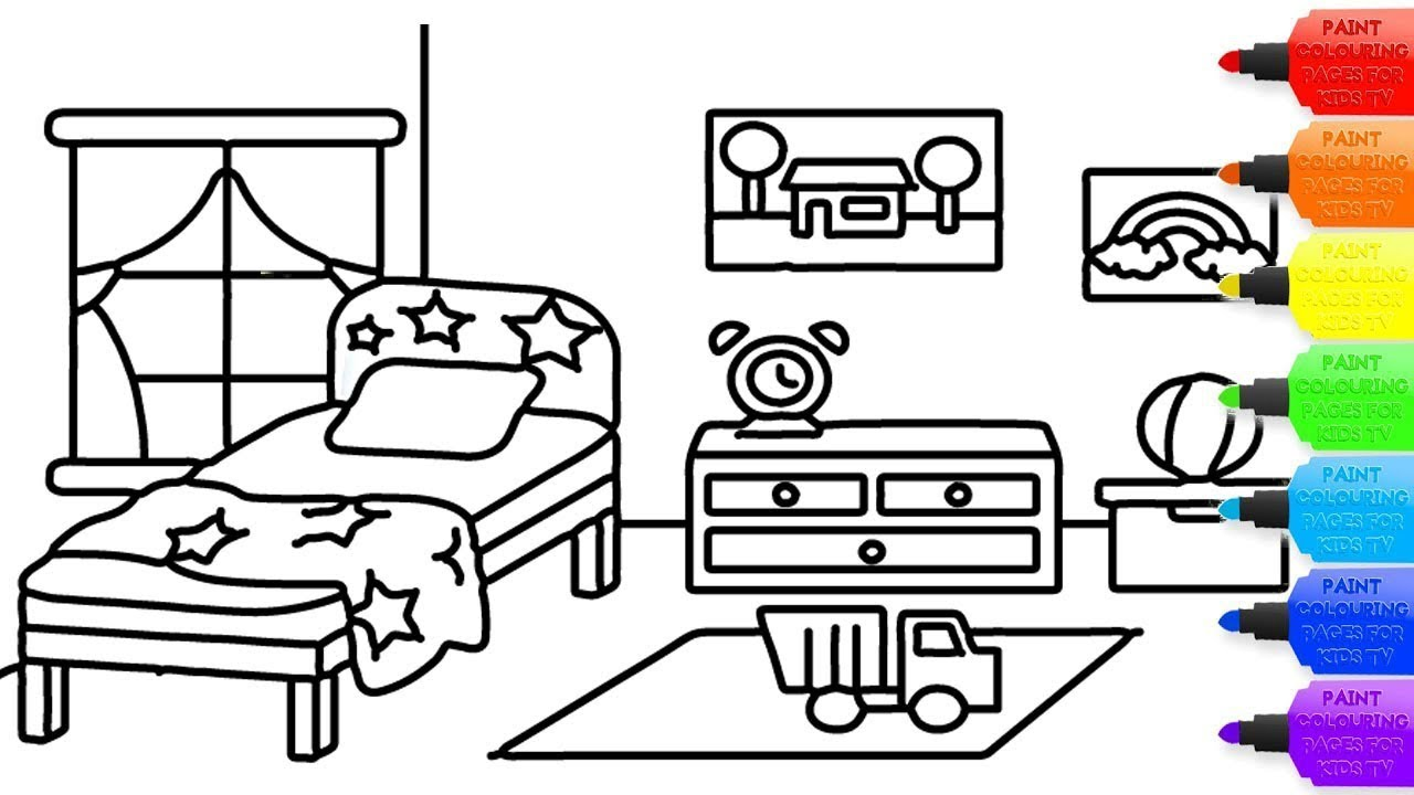 How to draw Bedroom coloring page for kids I learn ...