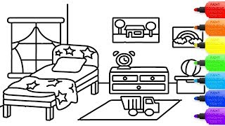 How to draw Bedroom coloring page for kids I learn coloring book with Bedroom YouTube