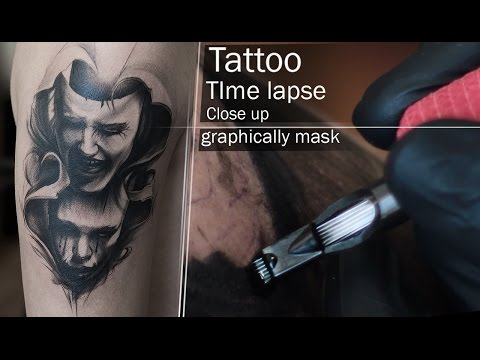 Tattoo Time Lapse and Close Up process - Graphic mask black and white