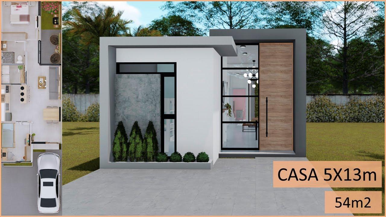 Download Casa pequeña 5X13 - 2 habitaciones 54m2