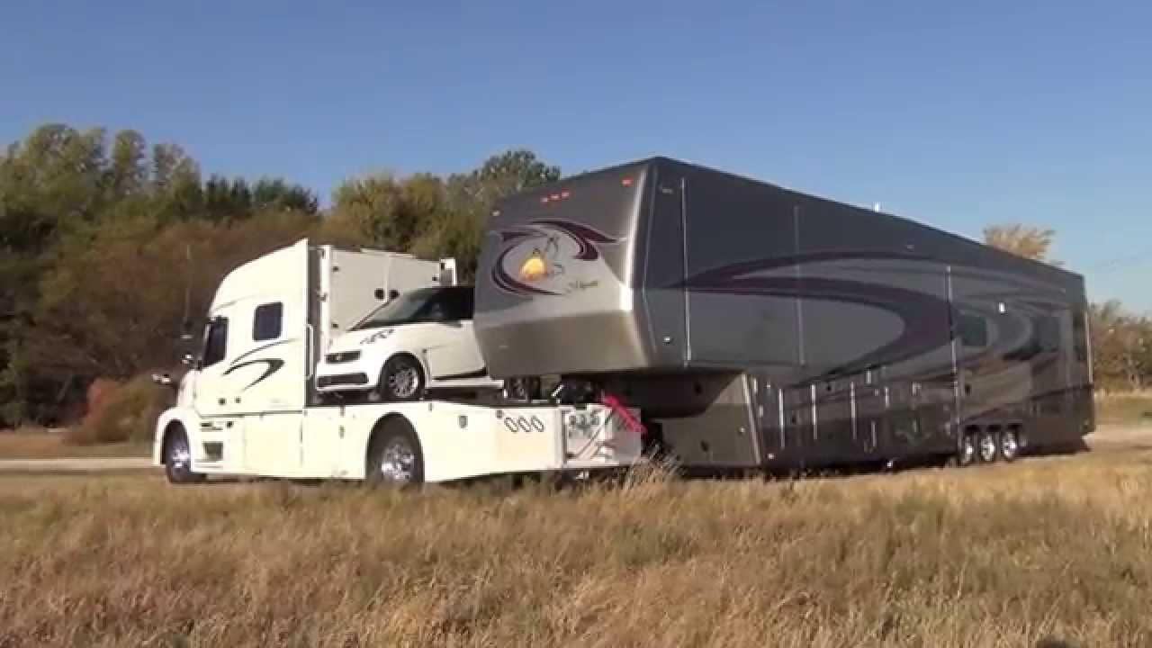 Semi Tractor For Sale >> RV Hauler Jackknifes with Smart car and 45 Foot 5th wheel - YouTube