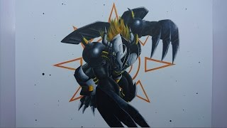 Time Lapse Drawing - Black WarGreymon from