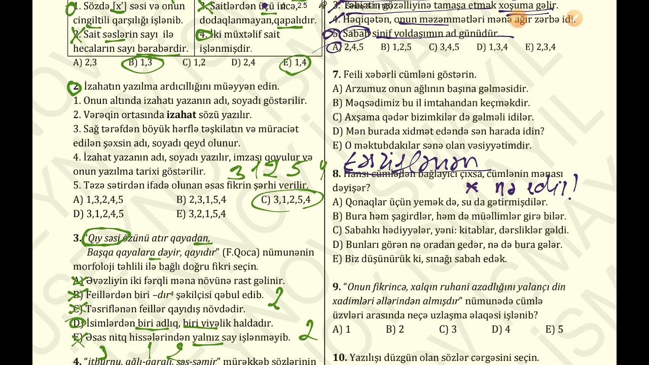 MİQ tipli Azərbaycan dili və Ədəbiyyat sınaq izahı