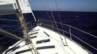 Yacht delivery. Close haul good winds and fair seas.MP4