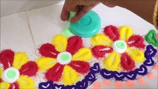 Very easy Diwali rangoli| easy border rangoli| easy colourful rangoli|