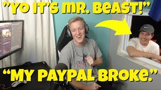 Mr. Beast COMES to TFUE'S *HOUSE* (GIVES HIM MONEY) (Fortnite: Battle Royale Funny Moments/Fails