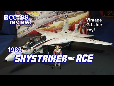 HCC788 - 1983 SKYSTRIKER and ACE! Combat Jet XP-14F - Vintage G.I. Joe toy! HD
