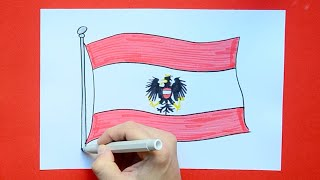 How to draw and color the National Flag of Austria