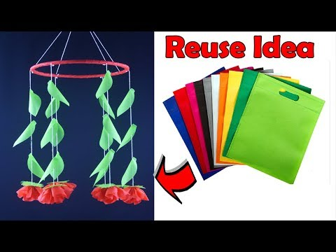 How To Make Flower Jhumar out of Old Shopping Bag | DIY Carry Bags Wind Chime | Wall Hanging Craft