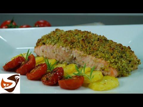 Salmone al forno: gratinato con pistacchi  – secondi di pesce  (baked salmon recipe)
