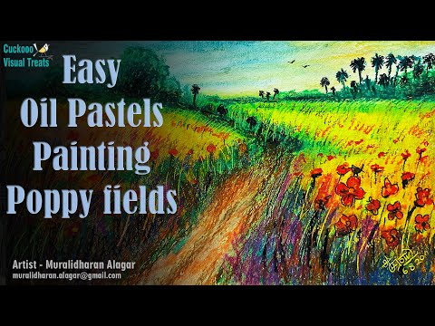 Oil Pastel Painting   Poppy Field   How to draw with oil pastels?   Beautiful nature   Landscape  