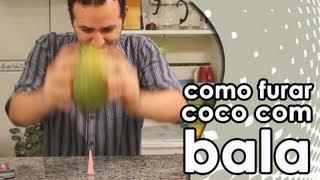Como furar um coco com uma bala 7 Belo (experiência)