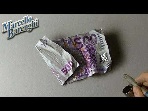 Drawing Time Lapse: 500 euro note – hyperrealistic art