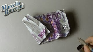 Drawing Time Lapse: 500 euro note - hyperrealistic art