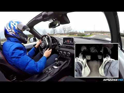 Me Drifting in the 2016 Mazda MX-5 Miata @ Track - Footwork Cam with Heel-Toe