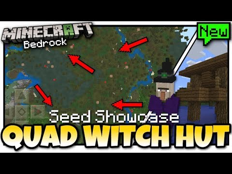 Minecraft - QUAD WITCH HUTS ( Seed Showcase ) MCPE - Bedrock / Xbox / Switch