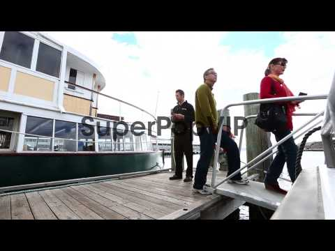 Patrons board the boat from Constitution Dock  to MONA  i...