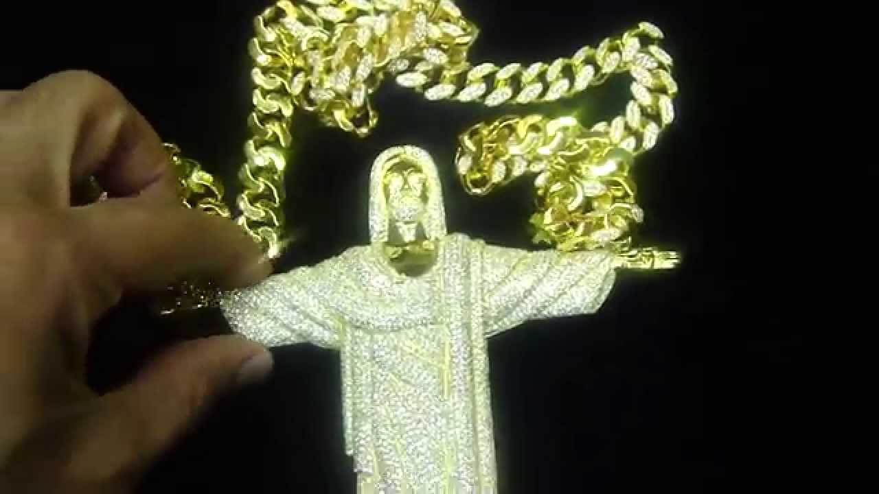 Custom 6in Tall Jesus Pendant Heavy Iced Out Cuban Solid