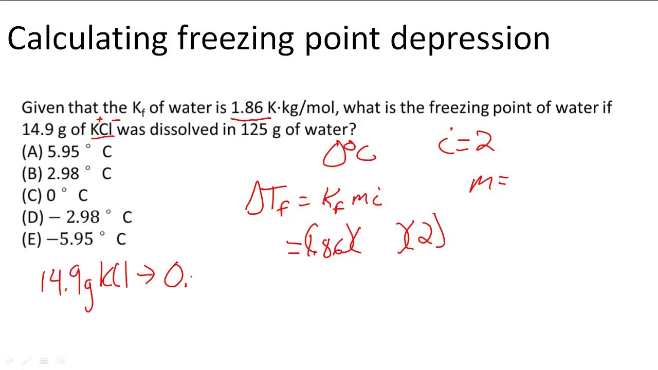 calculating freezing point depression youtube. Black Bedroom Furniture Sets. Home Design Ideas