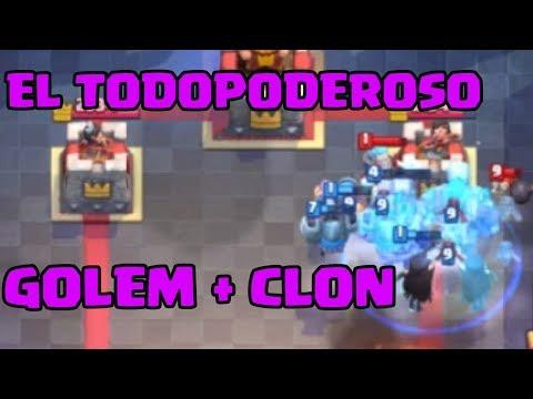 EL TODOPODEROSO GOLEM CON CLON, REVENTANDO A 3 CORONAS POR LA ARENA! Clash Royale en Español