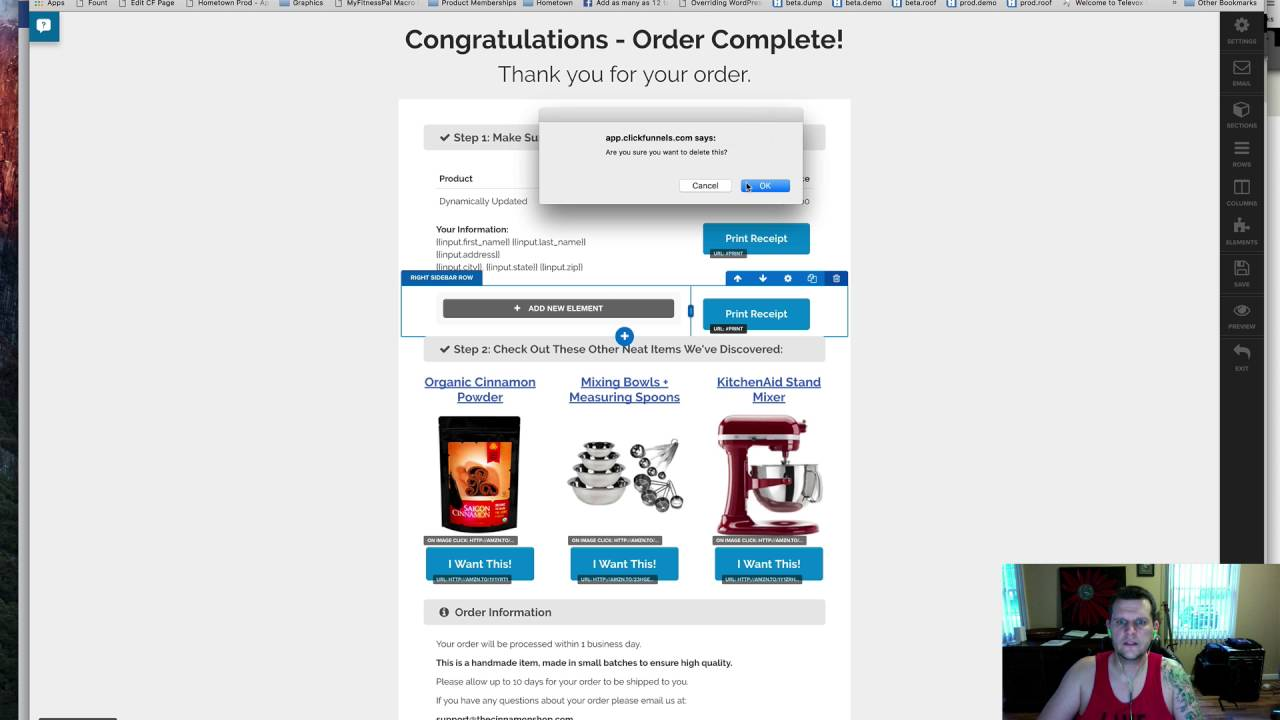 Print Button in ClickFunnels Order Confirmation Page - YouTube