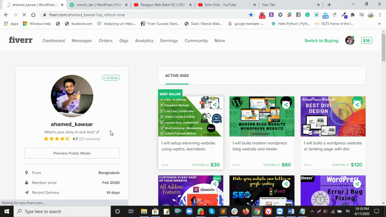 Fiverr Profile Review for Momin  ( Part 01 )